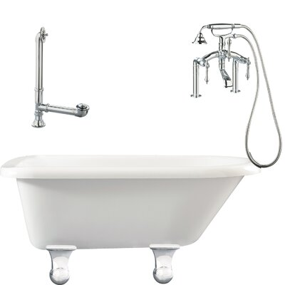 Brighton Roll Top Soaking Bathtub Metal Finish: Polished Chrome, Finish: White