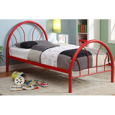 Sonya Panel Bed Color: Red, Size: Twin