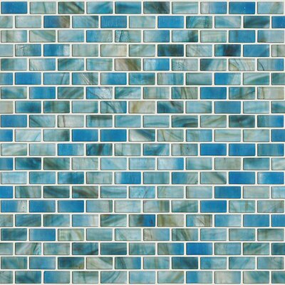 """Shaw Floors Glass Expressions 0.25"""" x 1"""" Glass Mosaic Tile in Azure"""