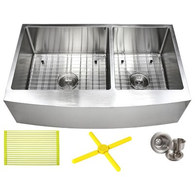 "Ariel 36"" L x 21"" W Double Basin Farmhouse/Apron Kitchen Sink with Additional Accessories"