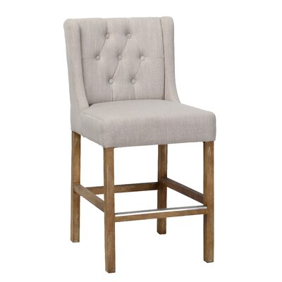"Sixtine Bar & Counter Stool Upholstery: French Beige, Seat Height: Counter Stool (24"" Seat Height)"