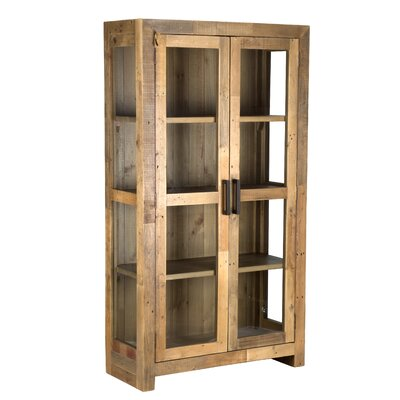 Abbey Solid Curio Flat Back Cabinet Color: Natural