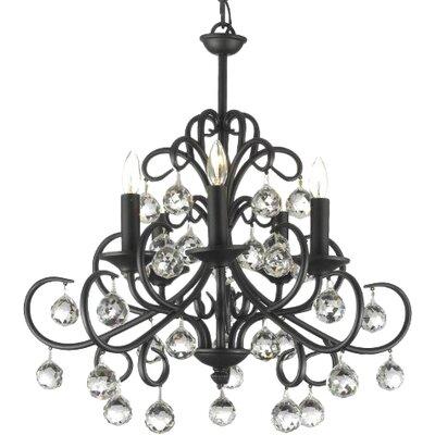 Clemence 5-Light Wrought Iron Base Candle Style Chandelier Finish: Black
