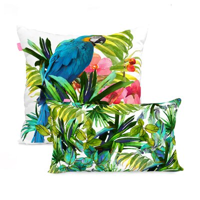 Happy Friday Blue Macaw 2 Piece 100% Cotton Cushion Cover Set