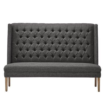 Solid Linen Tufted Upholstered Bedroom Bench Upholstery: Dark Gray