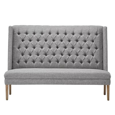 Solid Linen Tufted Upholstered Bedroom Bench Upholstery: Gray