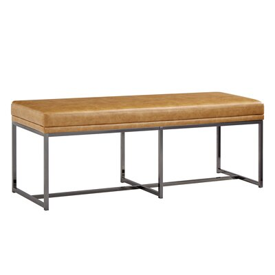 Fadrique Solid Metal Metal Bedroom Bench Upholstery: Faux Leather Caramel