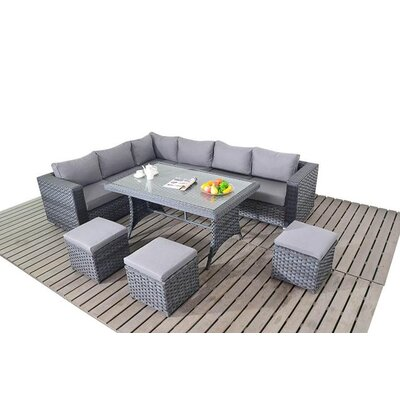 Port Royal 9 Seater Sectional Sofa Set with Cushions