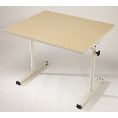 36'' W Height Adjustable Training Table Base Finish: Graphite Silver, Tabletop Finish: American Maple