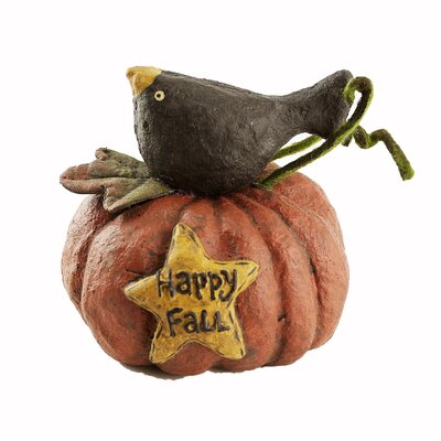 Happy Fall Crow on Pumpkin