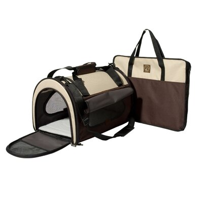 """""""The Dome"""" Folding Pet Carrier Size: Small (8.5"""" H x 9"""" W x 14"""" L), Color: Cream / Brown"""