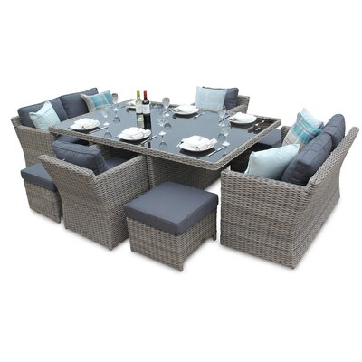 DECO Alfresco Tri-weave 10 Seater Dining Set