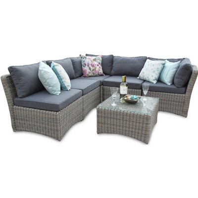 DECO Alfresco Tri-weave 5 Seater Sectional Sofa Set with Cushions