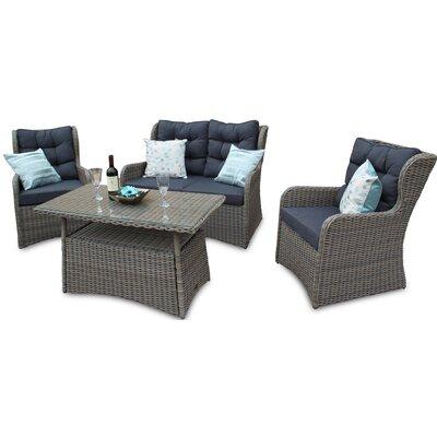 DECO Alfresco Tri-weave 4 Seater Sofa Set with Cushions