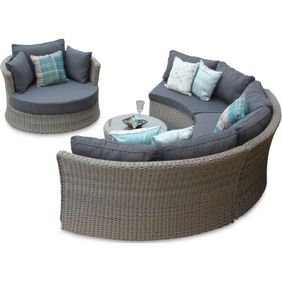 DECO Alfresco Tri-weave Sectional Sofa Set with Love Seat
