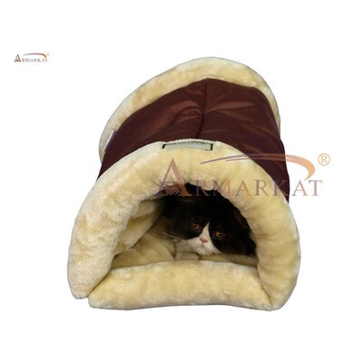 2 in 1 Cat Bed and Mat Color: Indian Red and Beige