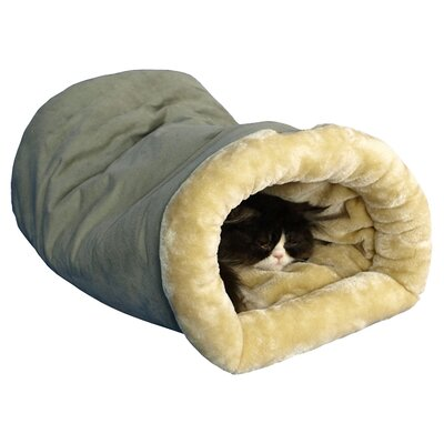 Tube Cat Bed Color: Sage Green and Beige