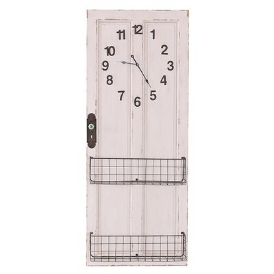Besp-Oak Furniture Wooden Door Clock with Baskets