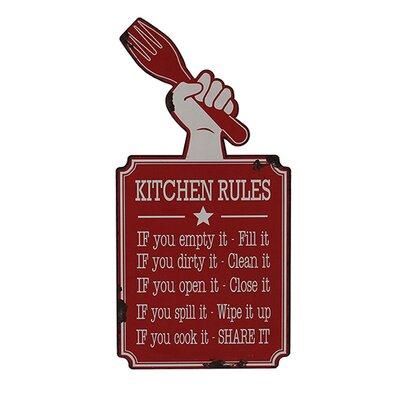 Besp-Oak Furniture Iron Kitchen Rules Wall Décor