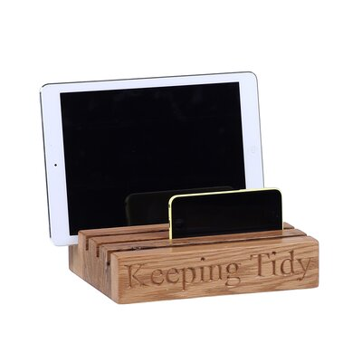 Besp-Oak Furniture Tidy with Keeping Tidy Engraved