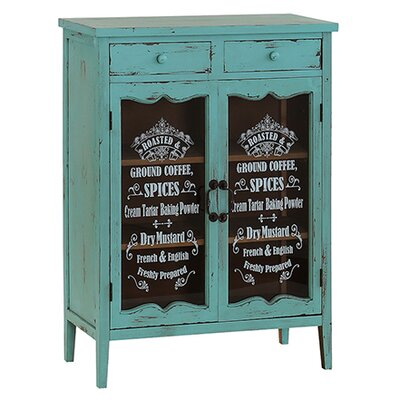 Besp-Oak Furniture Glass Fronted Ingredients Cupboard with 2 Doors
