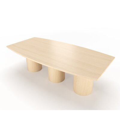 Geometry Collection Boat Shaped Conference Table Finish: Frosty White, Size: 12' L x 4' W