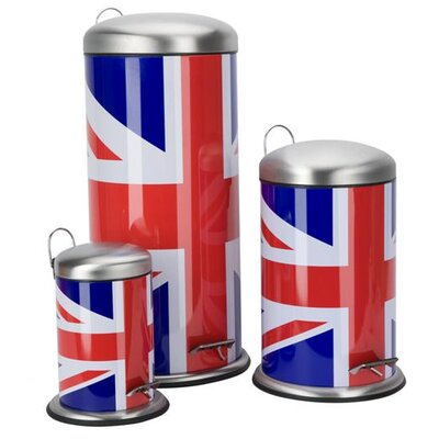 Cool Britannia Union Jack 3 Piece Pedal Waste Bin Set