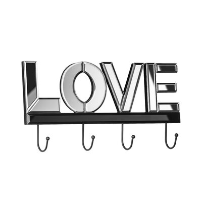 All Home Love Mirrored Wall Mounted Coat Rack