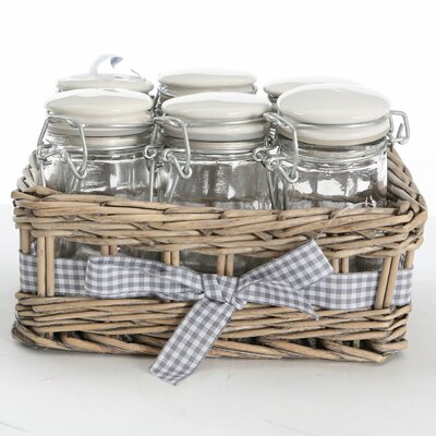 All Home 6 PieceSpice Jar Set with Basket