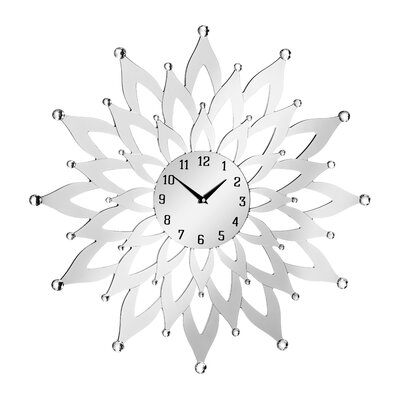 All Home Oversized 60cm Mirrored Flower Wall Clock