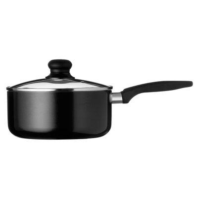 All Home 37 cm Non Stick  Aluminium Saucepan in Black with Lid