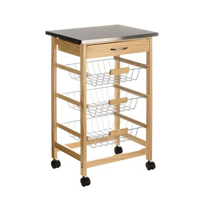 All Home Kitchen Cart with Stainless Steel Top