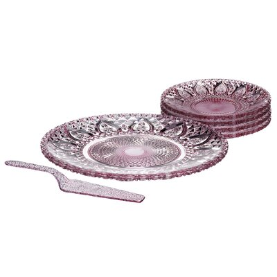 All Home 6 Piece Glass Cake Plate Set in Pink
