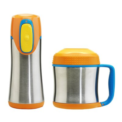 All Home Scout 14cm Vacuum Insulated Food Jar and Autoseal Mug in Orange