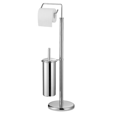All Home Free Standing Toilet Roll and Brush Holder