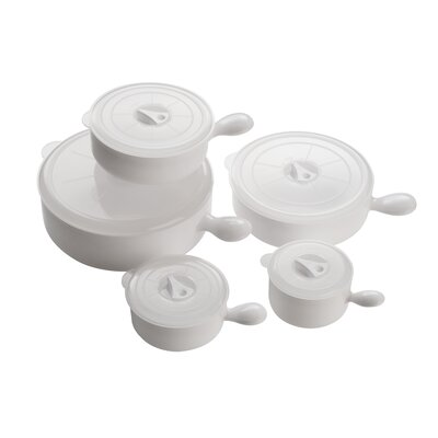 All Home 5 Piece Microwave Bowl Set in White