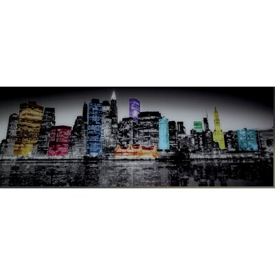 Genius Glasbild NY Bunte Skyline - 33 x 95 cm