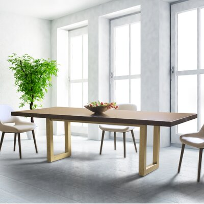 "Burnished Emerson Extendable Dining Table Top Color: Nantucket, Base Color: Burnished Gold, Size: 30"" H x 60"" L x 42"" W"