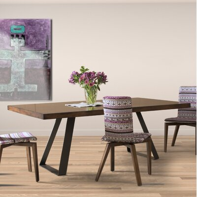 "Pressley Maple Straight Edge Dining Table Size: 29"" H x 96"" W x 42"" D, Top Color: Shadow"