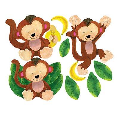 Wallies Murals & Cutouts 2 Piece Baby Monkeys Wall Sticker Set