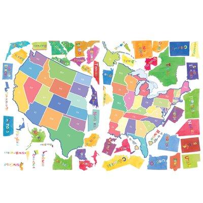 Wallies Murals & Cutouts 2 Piece US State Map Wall Sticker Set