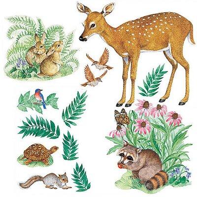Wallies Murals & Cutouts 2 Piece Woodland Animals Wall Sticker Set