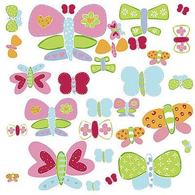 Wallies Murals & Cutouts 2 Piece Jenny's Butterflies Wall Sticker Set