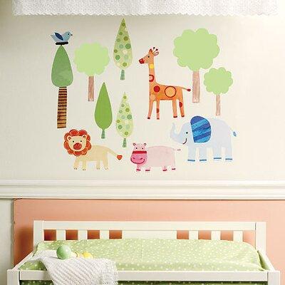 Wallies Murals & Cutouts 2 Piece Baby Zoo Wall Sticker Set