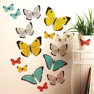 Wallies Murals & Cutouts Pastel Butterflies Wall Stickers