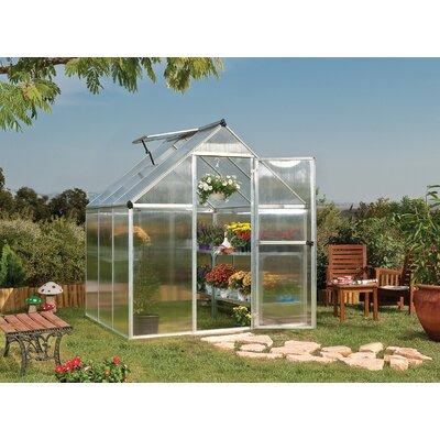 "Mythos 6 ft. W x 6 ft. D Greenhouse Frame Finish: Silver, Size: 7' 1"" H x 6.0 W x 8.0 D"
