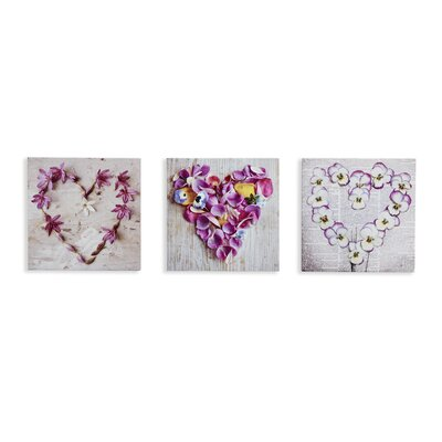 Arthouse Pansy Floral Hearts 3 Piece Photographic Print Wrapped on Canvas Set