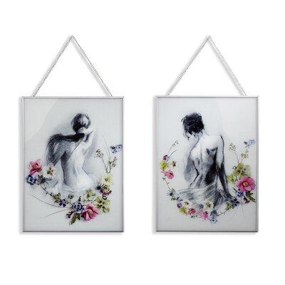 Arthouse Adriana/Sophie Edged Glass 2 Piece Framed Graphic Art Set