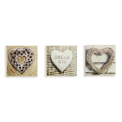 Arthouse Rustic Hearts Box 3 Piece Framed Graphic Art Shadow Boxes Set