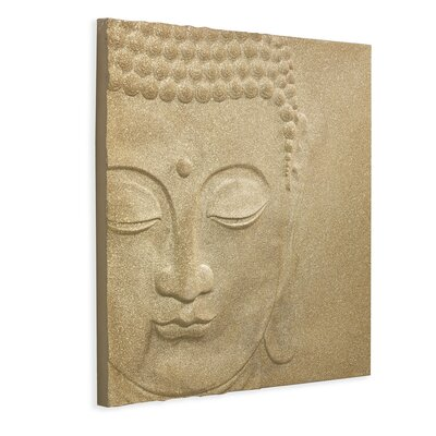 Arthouse 3D Glitter Peace Buddha Graphic Art Wrapped on Canvas in Gold